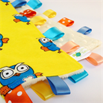 GIGGLE & HOOT ~ Baby Security BlankieTaggie Toy + Free Taggie Saver