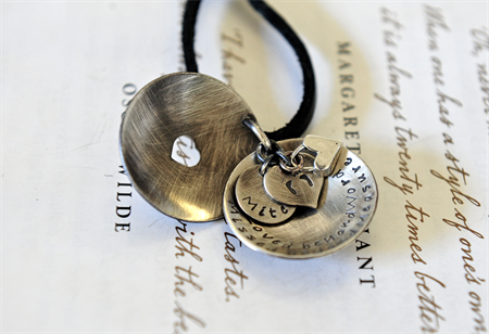 Hand Stamped Memory Keepsake Leather Hanging Pendant Locket Keepsake Necklace