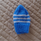 Size 0-6 months hand knitted beanie in blue & white: Washable, soft, affordable