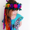 recycled silk flower fairy crown hand crocheted by plumfish