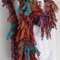 Soft Raggy Recycled Sari Silk and Chiffon Scarf amber tones