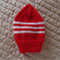 Size 2-4 Years hand knitted beanie in Red & white: Washable, soft, Unisex,
