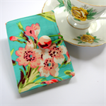 Tea Bag Wallet - Pink Flower Bouquet on Teal & Green Polka Dots