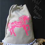 Personalised Kids Backpack - Horse Bright Pink