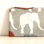 Happy Elephant Travel pouch wallet / zipper purse/ travel purse/ passport holder