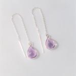Pale amethyst earrings, sterling silver chain earrings, dangle earrings