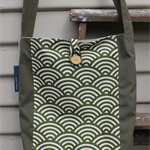Olive Japanese wave pattern panel tote on heavy weight cotton