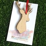 Deer Christmas Decoration Laser Cut from Tasmanian Oak Wood
