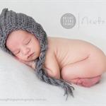 Gorgeous Textured Pixie Bonnet / Unisex Newborn / Grey