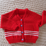 SIZE 2-3 yrs Hand knitted cardigan in Red & white: Acrylic Unisex, Washable