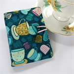 Tea Bag Wallet - Teacups on Navy Blue.