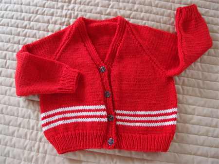 SIZE 3 -4 yrs - Hand knitted red & white jumper: Acrylic, Washable, Unisex