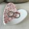 Pink floral porcelain ring dish. Heart. Ring pillow. Ring holder. Ceramic.