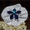 Hair Domayne White Hairclip with Blue Spots Design and Satin Flower in Centre