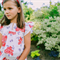 girls blouse - white floral yoked blouse