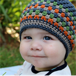 stripey beanie   crochet   baby boy   charcoal wool 6-18 months