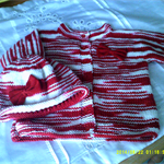 Girl's cardigan with matching hat.