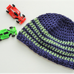 Baby boy Beanie- Handmade crochet baby beanie in navy blue with green stripes si