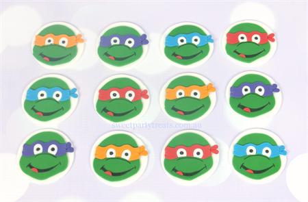 Ninja Turtle Fondant Cupcake Toppers 12 Ninja Turtle Edible Cupcake