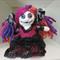 Bright gothic felted wool cloth rag doll. Softie, plush toy.