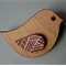 Bird Shape Wooden Brooch With A White Geo Pattern Wing Detail