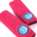 Children's Arm Warmers Kids Fingerless Gloves- Hot Pink with Stacks 8-12 yo