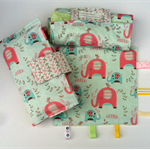 Nappy Diaper Change Mat with Nappy Wallet and Tag Blankie Green Elephant Splash