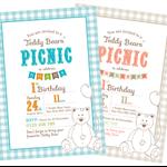 Printable Custom Birthday Party Invitation Template - Teddy Bears Picnic