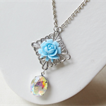 Something Blue Necklace Vintage Sky Crystal Jewel Glam It Up Silver Flower