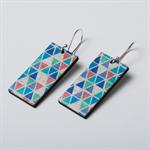 Blue Triangle Fatty Earrings - Drop Earrings - Wood Design - Geometric