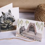 4 Mini Gift Cards - Wombats (Australian, Hairy-nosed wombat, Mum and baby)