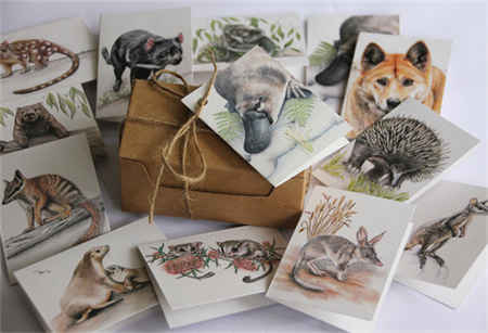 Gift Cards Mini size - ANIMALS Gift boxed set of 12 - Australian wildlife
