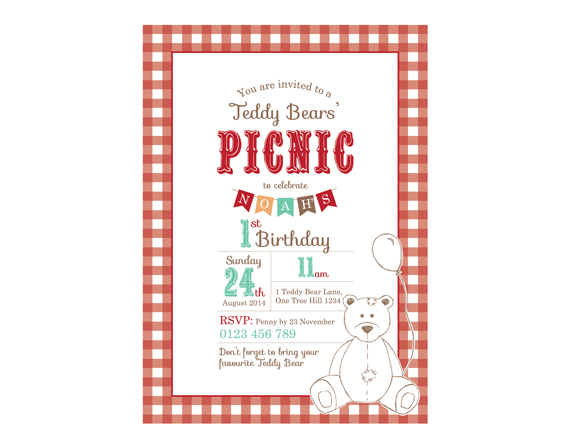 Printable Custom Birthday Party Invitation Template - Teddy Bears