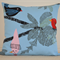 Blue Cushion Cover with colourful birds