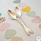 Hand stamped vintage teaspoon pair - good morning handsome gorgeous