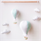 Hot air balloon mobile - mint, light grey, white
