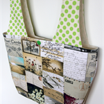 Linda Lunch Bag - Postcards & Green Polka Dots