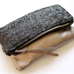 Sequin and leather fold over clutch, sequin clutch