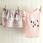 raindrops & whimsy | toddler skirt and tee | pink grey | cloud applique | size 1