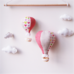 Hot air balloon mobile - hearts, red and linen