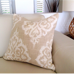 Natural & Ivory Linen Designer Contemporary Beach Cushion 50cm