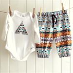 baby boy outfit   onesie & pants   aztec print teepee   last one !