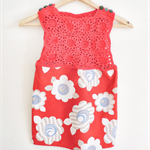 Red Blue and White Flower dress for toddler girls - Handmade crochet top and fab