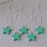 TEAL STARS -  a set of 5 hand cast resin star tags