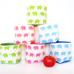 Small Fabric Storage Box / Basket - Elephant (Choose Your Colour)