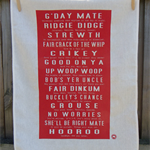 Aussie Slang Tea Towel RED (with translations)