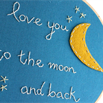 love you to the moon   hoop textile accessory   baby nursery bedroom gift