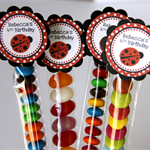 8 Pack Ladybug Birthday Party Favour Lolly Tube #LT0007