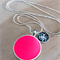 Neon Pink and Silver Glitter Double Pendant Resin Silver Necklace