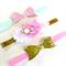 Bow & Flower Headband Set - Glitter - Pink - Mint - Gold - Velvet Elastic